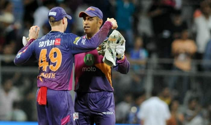 Steven Smith and MS Dhoni celebrate during the first qualifier of IPL 2017 | IANS Photo