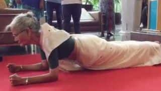 Milind Soman's 78-year-old mother Usha Soman does a plank wearing sari (Watch Video)