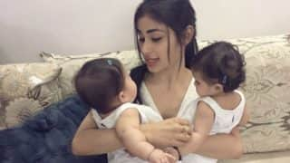 This video of Karanvir Bohra's daughter refusing to leave Mouni Roy is the most adorable thing on the internet!