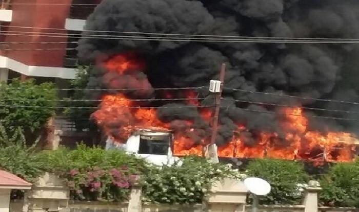 The burning school bus near Exotica square