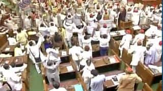 Chaos in first session of Uttar Pradesh Assembly; Opposition throws papers on Governor
