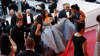 Aishwarya Rai Bachchan appeared at 70th Cannes in a beautiful ballroom gown, but did you notice her battalion? (Watch Video)