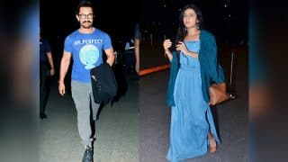Aamir Khan and Fatima Sana Shaikh spotted twinning at the airport as they leave to begin Thugs of Hindoston - view pics