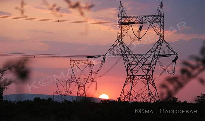 electricity power plant sun set