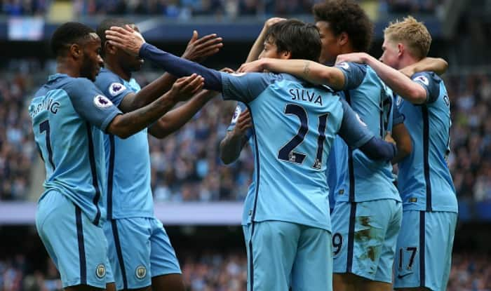 Image result for man city 2-1 leicester celebrate