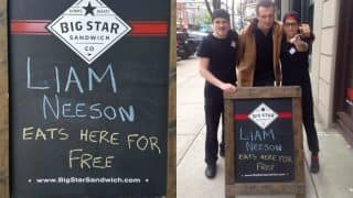 A Vancouver restaurant offered free food to Liam Neeson, and he actually showed up to claim the offer!