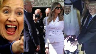 Donald Trump touches Orb, Melania Trump and Hillary Clinton; becomes online laughing stock! (See pictures and video)