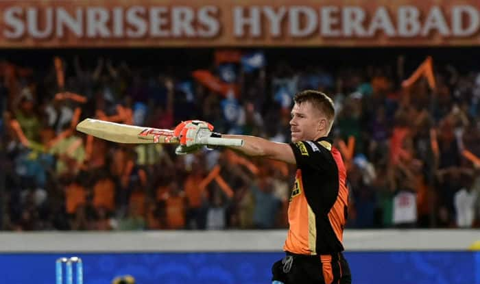 David Warner celebrates after scoring century against KKR | IANS Photo