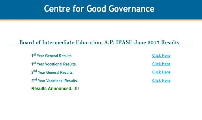 AP IPASE Inter 1st 2nd Year Results 2017