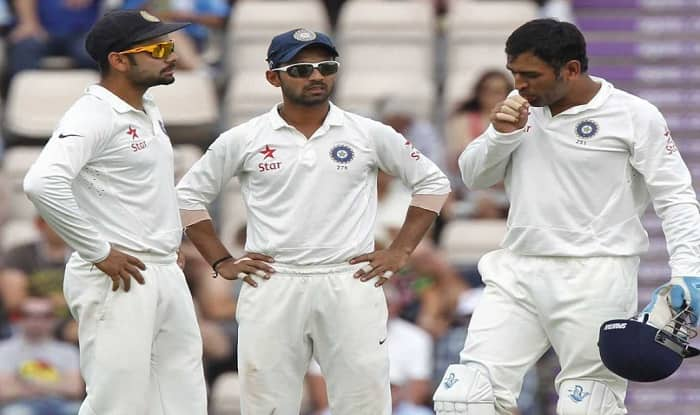 Virat Kohli (L), Ajinkya Rahane (M) and skipper MS Dhoni at SGC . (Getty Image)