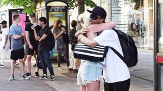 Blindfolded Muslim man asks for free hugs in Manchester, days after attack (Watch heartwarming video)