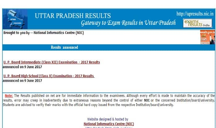 UP Board Results 2017 for class 10th & 12th LIVE Updates