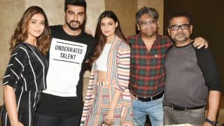Arjun Kapoor cuts his pre-birthday cake with Mubarakan co-stars, Ileana D'Cruz and Athiya Shetty--(View Pics)