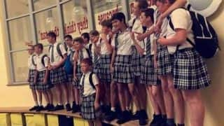 UK boys wear skirts to school during heatwave to protest against 'no shorts' dress code