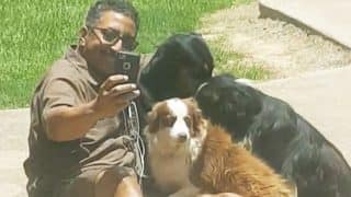 Louisiana UPS driver befriends his customer's dogs, adorable video goes viral