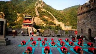 International Yoga Day 2017: Chinese and Indian yoga enthusiasts celebrates Yoga Day at Great Wall of China