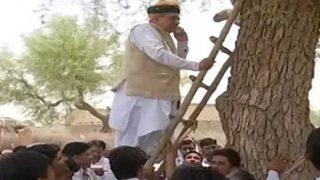 मोबाइल पर सिग्नल नहीं मिला तो पेड़ पर चढ़ गए केंद्रीय मंत्री मेघवाल