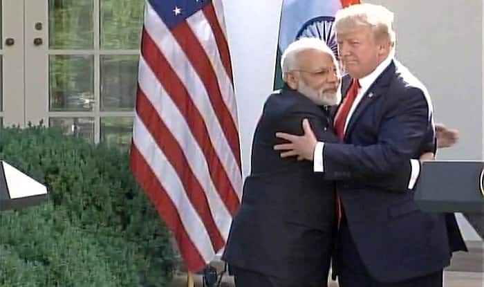 Image result for Narendra Modi, hugging trump, photos