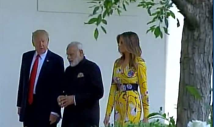 PM Modi US President Donald Trump and First Lady Melania Trump at White House