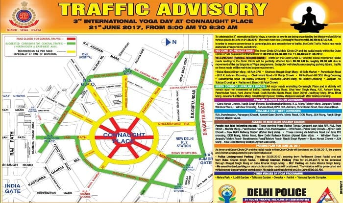Traffic advisory issued by Delhi Traffic Police ahead of Yoga Day 2017