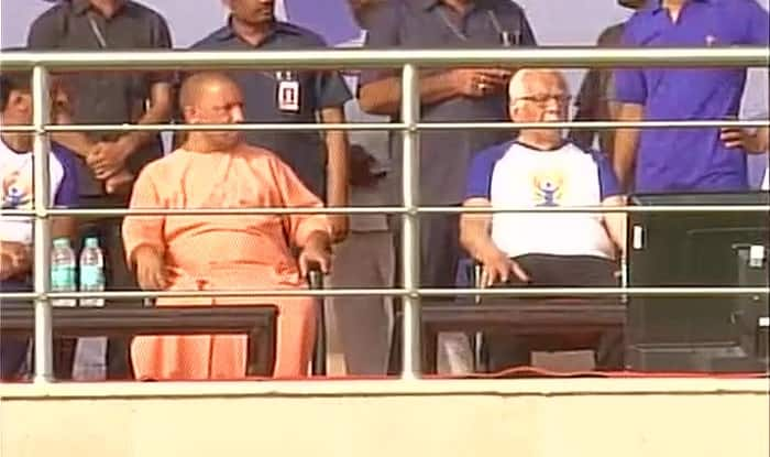 Yogi Adityanath at dress rehearsal of Yoga Day event in Lucknow (ANI)