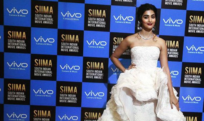 Pooja Hegde rocks dramatic ruffled peplum gown at SIIMA 2017