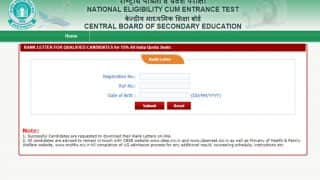 NEET 2017 Counselling: Download the All India Rank Letters from cbseneet.nic.in for All India Quota Counselling