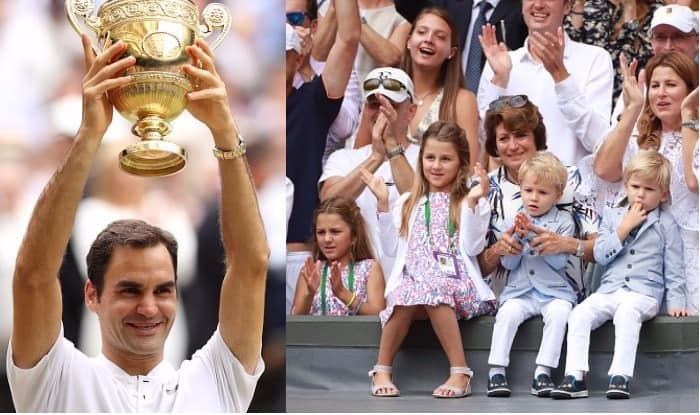 Roger Federer S Twin Sons And Daughters Score Love All Overshadows Dad S Historic Wimbledon 2017 Win With Cuteness See Pictures India Com