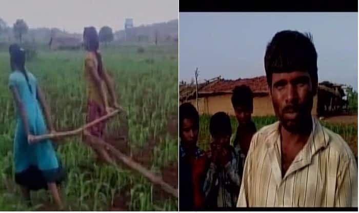 Madhya Pradesh farmer uses teenage daughters to plough farm