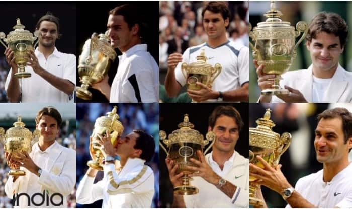 Roger Federer and his eight Wimbledon titles | Getty Images