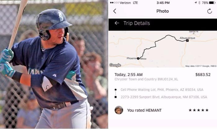 Mariners minor leaguers take Uber from Phoenix to Albuquerque