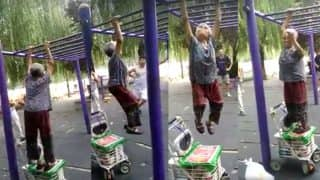 Grandma Swings on Monkey Bar at a Playground and Proves That Age is Just a Number! (Watch Viral Video)