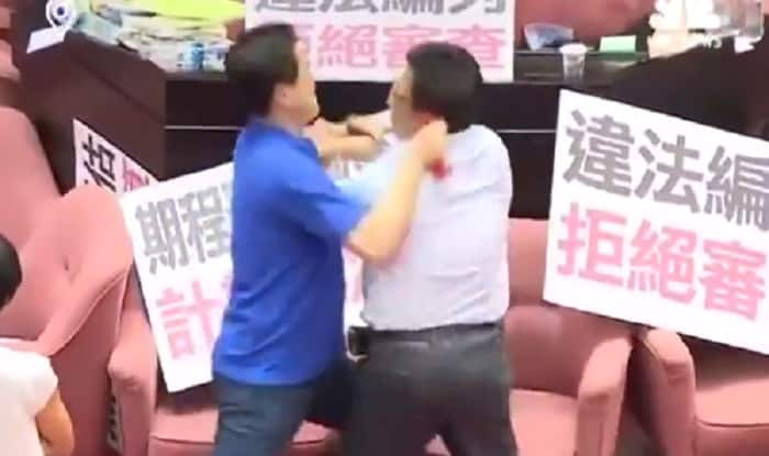 Taiwanese lawmakers brawl over $19b project
