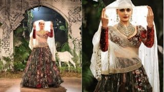 Dia Mirza channelized a Radha avatar for Anju Modi's couture collection at India Couture Week 2017! View Pics