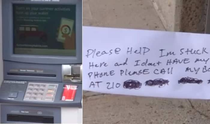 Man trapped in ATM slips handwritten