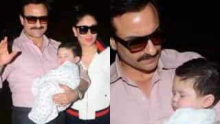 Saif Ali Khan Carries Sleeping Baby Taimur As He Leaves For His Vacay With Kareena! (View Pics)