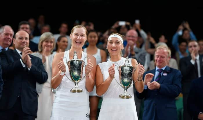 Ekaterina Makarova and Elena Vesnina after winning the women's doubles title. (Twitter Image)