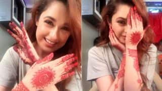 Yuvika Chaudhary Needs no Marriage or Husband to Have Cute Mehendi Moment! See Pictures