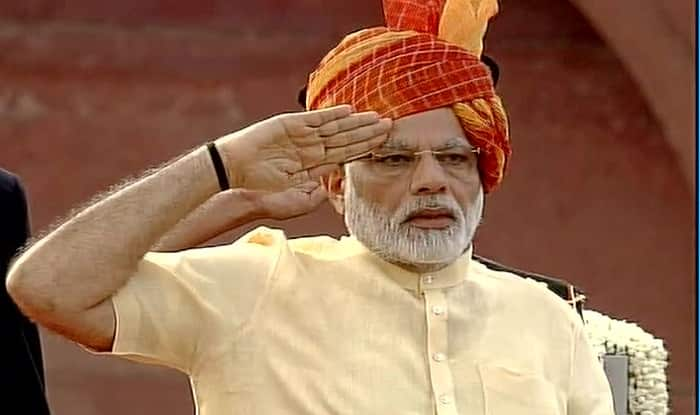 Prime Minister Narendra Modi after hoisting the Tricolour