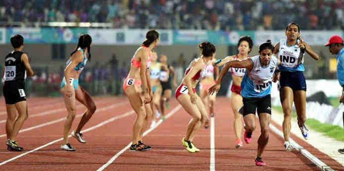 भारतीय महिला टीम 4x100 रिले स्पर्धा में हुई डिस्क्लॉलिफाई (PTI)