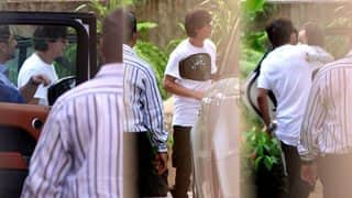 Shah Rukh Khan And Abram Twin Yet Again As They Drop By To Meet Gauri Khan At Work - View Pics