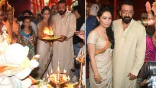 Check Out Pictures Of Sanjay Dutt And Maanayata Performing Ganpati Aarti