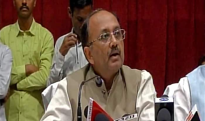 UP Health Minister Siddharth Nath Singh addressing the press (image: Twitter/ANI)
