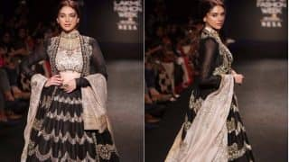 Aditi Rao Sizzled In this Dramatic Black Lehenga By Designer Jayanti Reddy at Lakme Fashion Week 2017