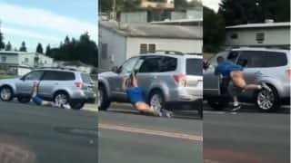 Serial Carjacking Suspect Got Butt Naked After Getting Dragged by SUV Driver in Shocking Video