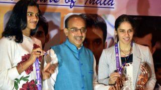 Sports Ministry Felicitates PV Sindhu, Saina Nehwal And Kidambi Srikanth