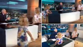 Little Toddler Girl Takes Over ITV Lunchtime News; Newsreader Alastair Stewart Handles Hilarious Situation Like A Pro (Watch)