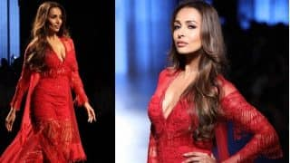 Woah! Malaika Arora Looked Insanely Hot in Scarlet Red Embellished Jumpsuit at LFW 2017!