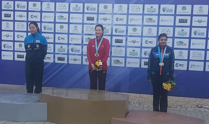 Maheshwari Chauhan (right) finished third with a score of 40 | Image: @OlympicPressOrg/Twitter