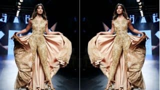 Pooja Hegde Looked Like an Absolute Diva in this Embellished Gold Jumpsuit at the LFW 2017 ramp!